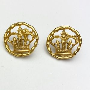 Earrings Gold Vintage Costume Crown Clips